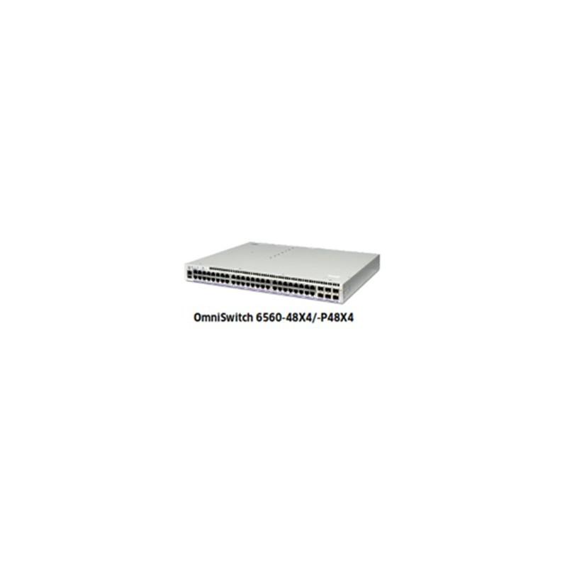 OS6560-P48X4 GigE fixed chassis 48 RJ-45 PoE 10/100/1G BaseT, 2